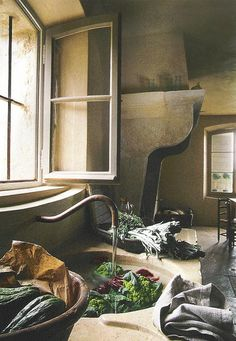 Now that's a fireplace. Love the sink and counter top and slightly arched windows.
