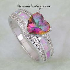 Women's Ring Heart Shape Rainbow Mystic Topaz and Fire Opal Inlay Sterling Silver Overlay sz 9 Rings Jewelry Gifts Accessories Heart Jewelry, Jewelry Gifts, Heart Ring, Jewelry Ideas, Sterling Silver Jewelry, Gold Jewelry, Silver Earrings, Silver Bracelets, Earrings Uk