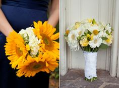 Simple yellow & white bridesmaids bouquets & bridal bouquet | Kim & Ryan's Offbeat, DC-themed wedding at the Mt. Vernon Inn | Images: The Girl Tyler