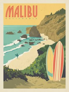 Anderson Design Group American Travel Malibu, CA is part of Vintage poster design - Collage Mural, Photo Wall Collage, Poster Art, Poster Prints, Surf Posters, Posters Decor, Vintage Surfing, Travel Sticker, Arte Peculiar