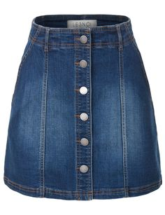 LE3NO Womens Button Down Denim Mini A-Line Skirt with Pockets