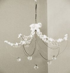DIY Wire and Crystal Chandelier