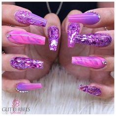 Nail art Christmas - the festive spirit on the nails. Over 70 creative ideas and tutorials - My Nails Purple Acrylic Nails, Purple Nail Art, Best Acrylic Nails, Acrylic Nail Designs, Nail Art Designs, Purple And Pink Nails, Fancy Nails Designs, Nail Swag, Nagel Bling