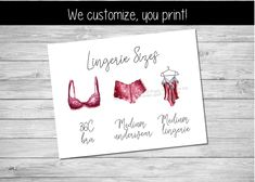 Printable lingerie size card, Lingerie Size Insert | by Pretty Printables Ink on Etsy. Share the bride's measurements for a lingerie shower or lingerie party with our customized lingerie size insert! We customize, you print! #lingeriesizecard #lingeriesizeinsert #lingerieshower #lingerieshowerideas #lingerieparty #brapantysizecard #pantygame #bachelorettepartyideas #bachelorettelingerieparty