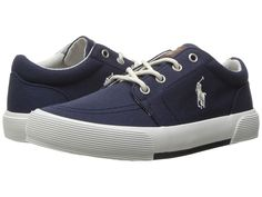 Polo Ralph Lauren Kids Faxon II (Little Kid) Kid's Shoes Navy Canvas/Paper White PP