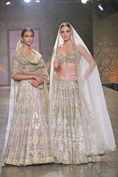Sangeet Lehengas - White and Gold Lehenga with Net Dupattas by Rimple and Harpreet Narula   WedMeGood #wedmegood #indianbride #indianwedding #lehenga #bridal #rimpleandharpreet
