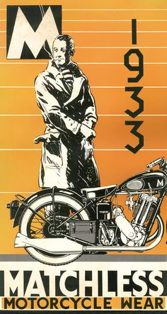 1933 Matchless Motorcycles Wear, vintage poster