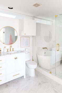 One Room Challenge Final Reveal: Our Master Suite Makeover (+ video)! - - - Shall we all take a moment of silence for surviving a complete overhaul of our master bedroom and bathroom while being pregnant? Dream Bathrooms, Small Bathroom, Master Bathroom, Girl Bathroom Decor, Girl Bathrooms, Boho Bathroom, Modern Bathrooms, Bathroom Design Luxury, Home Interior Design