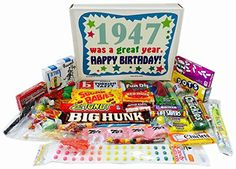 1947 70th Birthday Gift Box of Retro Nostalgic Candy from Childhood for a 70 Year Old Man or Woman * You can find more details by visiting the image link.-It is an affiliate link to Amazon. #BirthdayGift