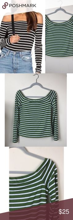 "{Bailey 44} Green White Jacqueline Striped L/S Top Excellent Pre-loved Condition -- part of the tag has been cut as noted in the picture Bailey 44 Women's Green White Horizontal Jacqueline Striped L/S Top  Size: Women's M Measured laying down flat: 21"" long, 17"" across bust, 24"" long sleeves Material: 94% Rayon + 6% Spandex Description: Casual shirt that is lined, off shoulder neckline, long sleeves, bottom of the shirt does not have a hem  Comes from a Smoke Free Home ID: A199-7 Bailey 44…"