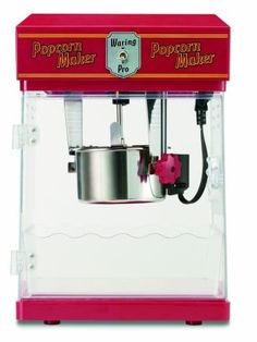 Waring Professional Popcorn Maker, Red - Everyone Wants Popcorn. And the Waring Pro Professional Popcorn Maker delivers up to 8 cups of hot, delicious popcorn in just a few minutes. Great for kid's parties, game time snacks, or just becau Red Kitchen, Kitchen Tools, Kitchen Gadgets, Kitchen Dining, Kitchen Stuff, Kitchen Ware, Kitchen Supplies, Kitchen Items, Dining Room