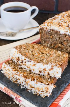 Carrot Coconut Bread - sweet bread loaded with carrots, coconut, and frosting. It's a great recipe to enjoy for breakfast.