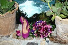 Ramo para tu boda en playa. Tonos morados y lilas. Bodas Huatulco.