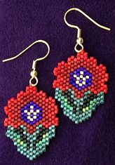 Sculptured Poppy Power Earrings at Sova-Enterprises.com. Lots of free beading patterns and tutorials on this site!