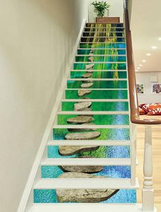 Printing Ideas Useful Key: 6407881528 River Rock Stone, Stone Road, River Rocks, Finishing Stairs, Grass Lake, Stone Art Painting, Stair Art, Decoration Photo, Marble Stairs