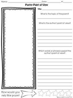 Worksheet Poetry Analysis Worksheet student the ojays and it is on pinterest poetry point of view editable free