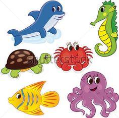 Set of Cartoon Sea Vector Illustration stock vector - Clipart.me