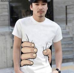 gripping tshirt.. i wonder if I wear these types of shirts .. I will look skinner ..lol