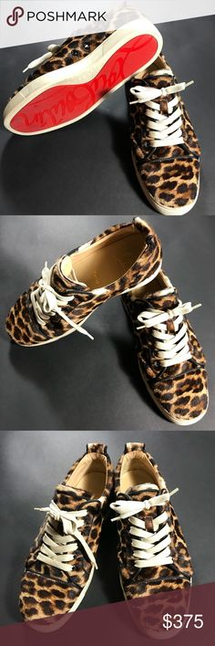 Louis calf cheetah print Christian Louboutin ((((SOLD👊🏽💥))))  Louis calf cheetah print pony hair Christian Louboutin sneakers.  THESE ARE EUROPEAN SIZE 41 BUT GARUNTEED TO FIT MENS US SIZE 9 👣👟👟 Christian Louboutin Shoes Sneakers