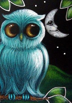 Blue owl & Moon with face  art