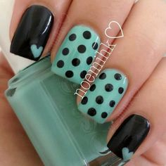Cute black and turquoise nails with polka dots and hearts!