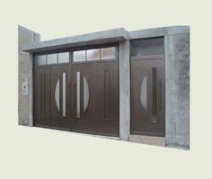 Puerta y Porton de dos hojas. Wood Fence Design, Steel Gate Design, Iron Gate Design, House Gate Design, Garage Door Design, Wooden Door Design, Unique House Design, Front Door Design, Garage Doors
