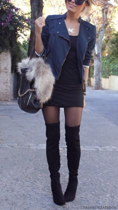 ❤Over the knee boots, tights, moto jacket!