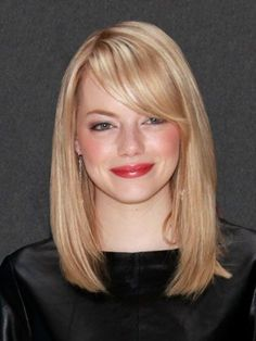 Emma Stone: Strong, side-swept bangs like Emma Stone's turn collarbone-length hair into a polished look. This works on everyone.