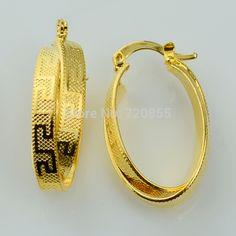 key pattern earring - gold plated earrings stud gold filled women girl fashion jewelry,Greek fret items best gift,Hot Sales