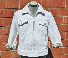 BURBERRY White Zip Front Denim Jeans Jacket  Signature Plaid Detail Size 8 #Burberry #DenimJeansJacket