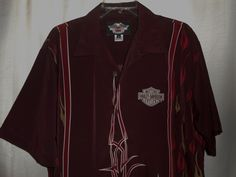 HARLEY DAVIDSON Button Up Shirt - Men Size Medium - Burgundy Flames-Short Sleeve #HarleyDavidson #ButtonFront
