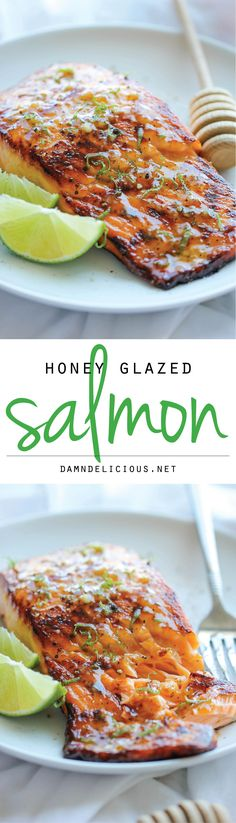 Honey Glazed Salmon - The easiest, most flavorful salmon you will ever make. And that browned butter lime sauce is to die for! | damndelicious.net