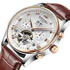 27e51f9c89c KINYUED Homens Relógio Esqueleto Relógio de Pulso relógio mecânico Japanês  Automático - da corda automáticamente Couro Preta   Marrom 30 m Impermeável  ...