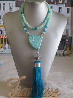 """Ravissant collier sautoir perles et connecteur céramique """"Des herbes folles"""" de la boutique framboisefrancoise sur Etsy"""