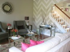 chevron wall and mirror. Oh, and chairs. And mirrored table...