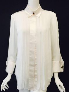 Chanel Pleated Ivory Silk and Silk Satin Blouse With French Cuffs