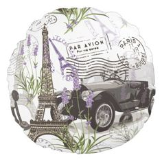 Vintage Paris Round Pillow - diy cyo customize create your own personalize