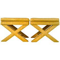 Pair of Silk X-Stools #yellow #decor #interiordesign (via @1stdibs)