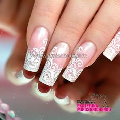 Ideas French Manicure Bride White Lace For 2019 Fall Manicure, French Manicure Nails, Wedding Manicure, Manicure Colors, Nail Atelier, Sculptured Nails, Bridal Nail Art, Bride Nails, Beautiful Nail Designs