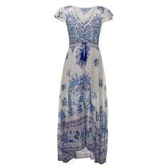 Boho Vintage Floral Print Belted Split Dress