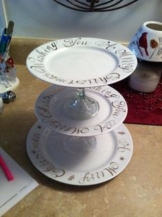 Dollar store plates with baked sharpie design and dollar store candle holders