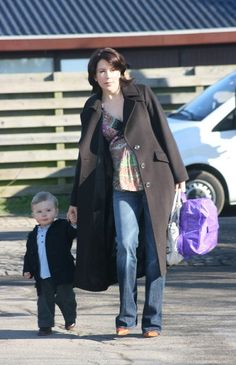 Crown Princess Mary and little Prince Christian on his way to his public nursery. 2007