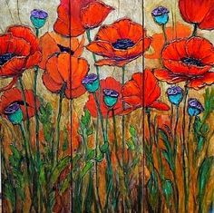 """Daily Painters Abstract Gallery: Floral Painting Poppy Flower Art """"Poppy Garden 4"""" by Colorado Mixed Media Artist Carol Nelson"""
