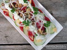 Tomato Cucumber Salad with Tahini Yogurt Ranch Dressing