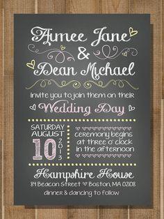 "PRINTABLE Wedding Invitation: ""Chalk it Up to Love"" -- CUSTOM -- 5x7 Flat"