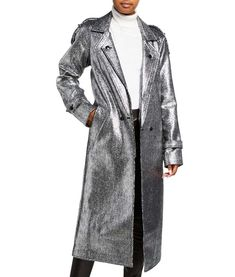 Silver Leather Jacket, Elizabeth Gillies, Satin Material, Stylish, Winter Parties, Coat, Jackets, Mid Length, Outfits