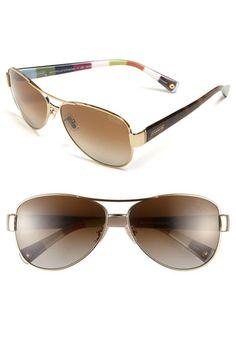 1321c2a08e7 COACH Polarized Metal Sunglasses available at Nordstrom Polarized Aviator  Sunglasses