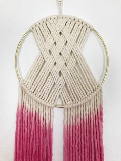 Items similar to Small Round Wall Hanging/ round macrame wall hanging/bohochic wall hanging/ dip dyed wall hanging/round wall tapestry on Etsy Macrame Wall Hanging Patterns, Macrame Patterns, Quilt Patterns, Canvas Patterns, Macrame Design, Macrame Art, Weaving Projects, Macrame Projects, Art Macramé