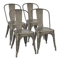 Furmax Metal Dining Chair Indoor-Outdoor Use Stackable Classic Trattoria Chair Chic Dining Bistro Cafe Side Metal Chairs Gun Metal Set of 4 Cafe Chairs, Patio Chairs, Outdoor Chairs, Indoor Outdoor, Room Chairs, Outdoor Office, Swing Chairs, Beach Chairs, Adirondack Chairs