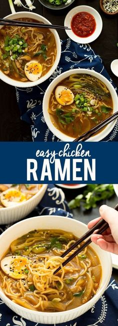 This Easy Chicken Ramen can be made at home in about 30 minutes! A flavorful bro… This Easy Chicken Ramen can be made at home in about 30 minutes! A flavorful broth with chicken and noodles, and don't forget the ramen egg! Soup Recipes, Chicken Recipes, Dinner Recipes, Cooking Recipes, Healthy Recipes, Vegetarian Recipes, Chicken Ramen Bowl Recipe, Ramen Noodle Recipes Chicken, Side Dishes